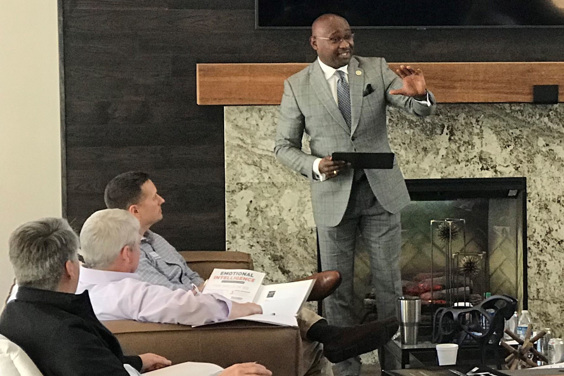 Caption: Karockas Watkins of the Huntsville/Madison Chamber of Commerce talks with the local board and staff of BancorpSouth in Hunstville, Alabama in 2020. Watkins heads the chamber's task force on diversity, equity. and inclusion., Credit: Courtesy Karockas Watkins