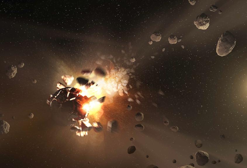 Caption: Asteroid Shattering, Credit: NASA