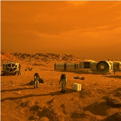 Caption: This artist's concept depicts astronauts and human habitats on Mars., Credit: NASA/JPL-Caltech