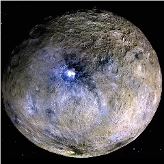Caption: Dwarf planet Ceres is shown in these false-color renderings, which highlight differences in surface materials., Credit: NASA/JPL-CalTech/UCLA/MPS/DLR/IDA
