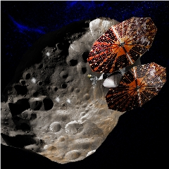 Caption: The Lucy spacecraft observes one of the Trojan asteroids in Jupiter's orbit in this artist concept., Credit: Southwest Research Institute