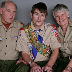 "Scout Derek Connell (C) talks with his Scoutmasters Richard (L) and Claudia. <a href=""http://www.prx.org/pieces/44739-derek-connell-richard-and-claudia-coleman"">Listen here</a>. Credit:"