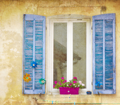 Caption: Window in the Town of Cassis, France