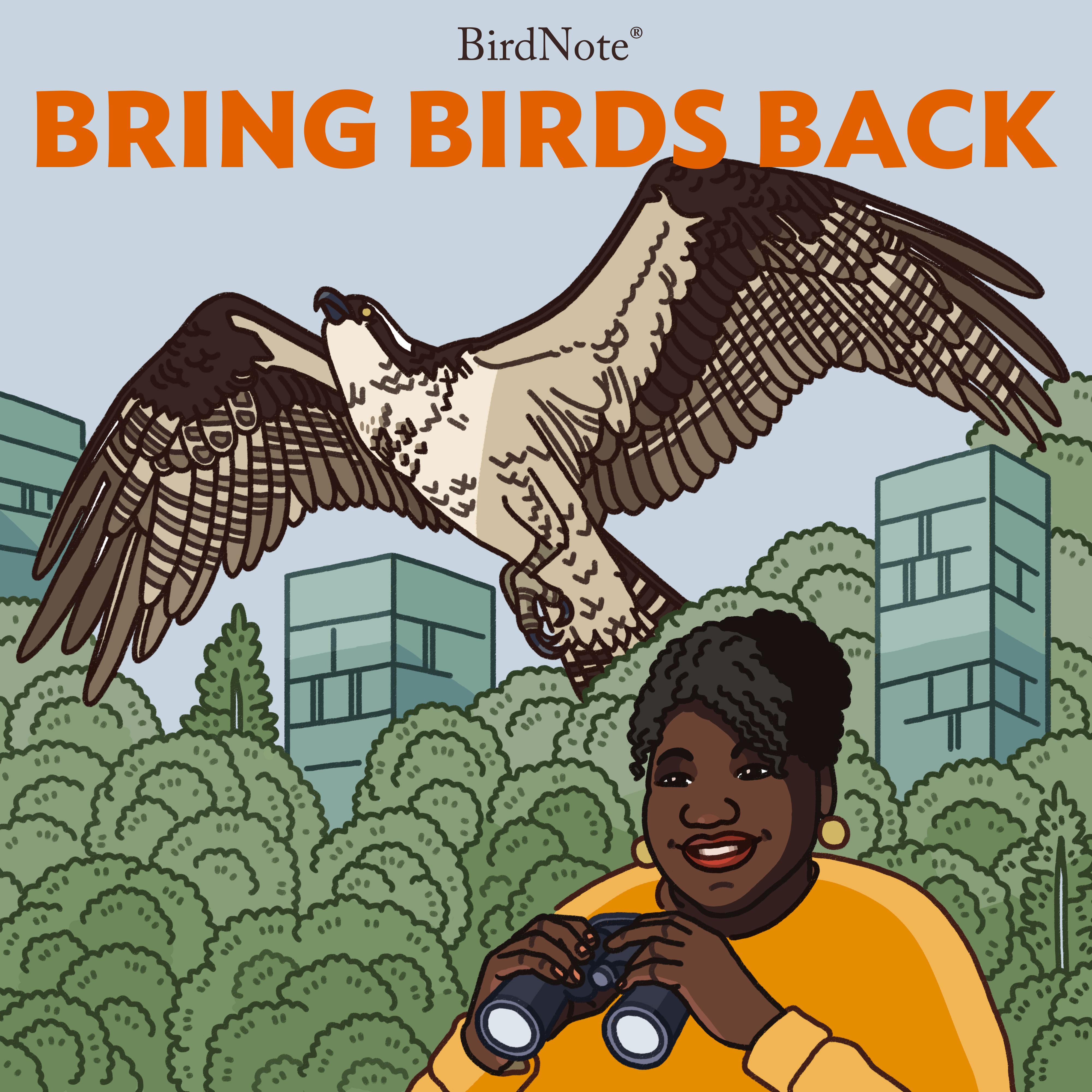 Caption: Illustration of a Baltimore Oriole, Osprey and American Tree Sparrow flying over our host, Tenijah Hamilton, smiling and holding binoculars, against a background of trees and tall buildings. , Credit: Hayden Maynard