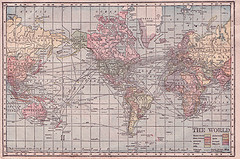 Caption: Hammond Cylindrical Projection World Map 1905, Credit: Sue Clark