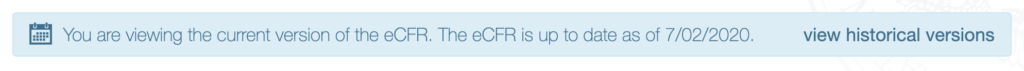 eCFR last updated banner example
