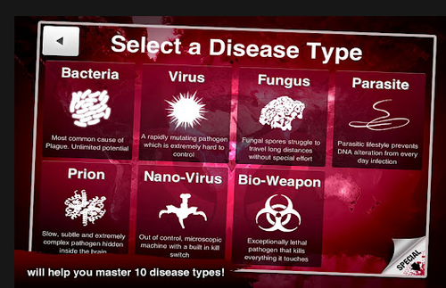 Extra pathogen types are available for a few dollars each.  Or you can play the game as a bacteria to start.  You must win as a bacteria on the hardest level (there are three levels easy, normal and brutal).  If you wish to play as something else, and don't want to beat the game as a bacterium first, you can buy another pathogen for $1.