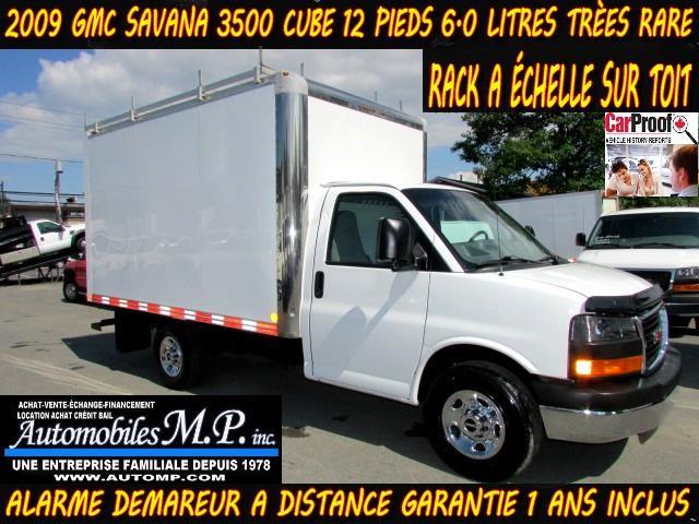 GMC Savana 3500 2009 CUBE 12 PIEDS 6.0 LITRES RACK SUR TOIT  #093