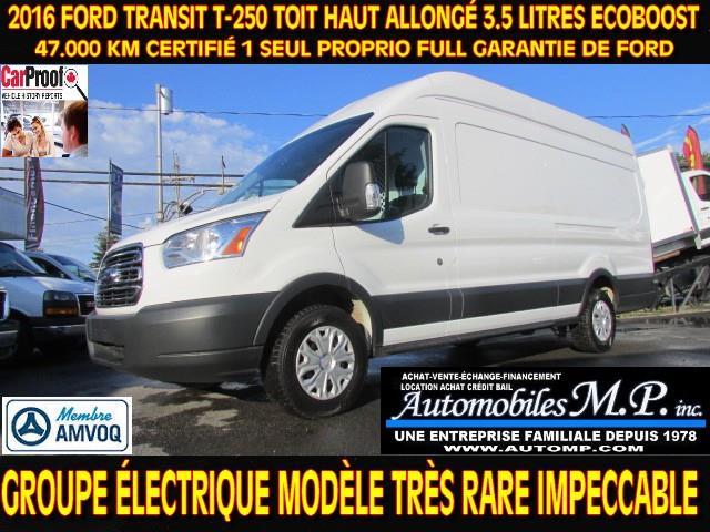 Ford Transit Cargo Van 2016 T-250 TOIT HAUT CARGO ALLONGÉ 47.000 KM #020
