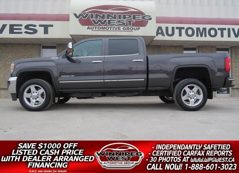 2015 GMC Sierra 2500HD SLT DURAMAX DIESEL 4X4, LEATHER, ROOF, NAV, LOCAL! #DW4540