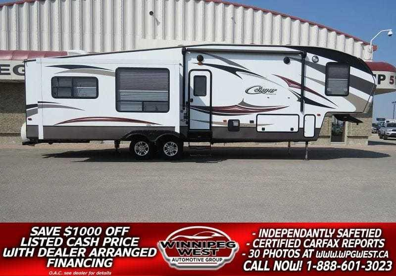 2015 Keystone RV Cougar 333MKS 37FT TRIPPLE SLIDE, LUXURY FINISH, LEATHER, FIREPLACE, REAR LOUNGE AND MORE! #W4711
