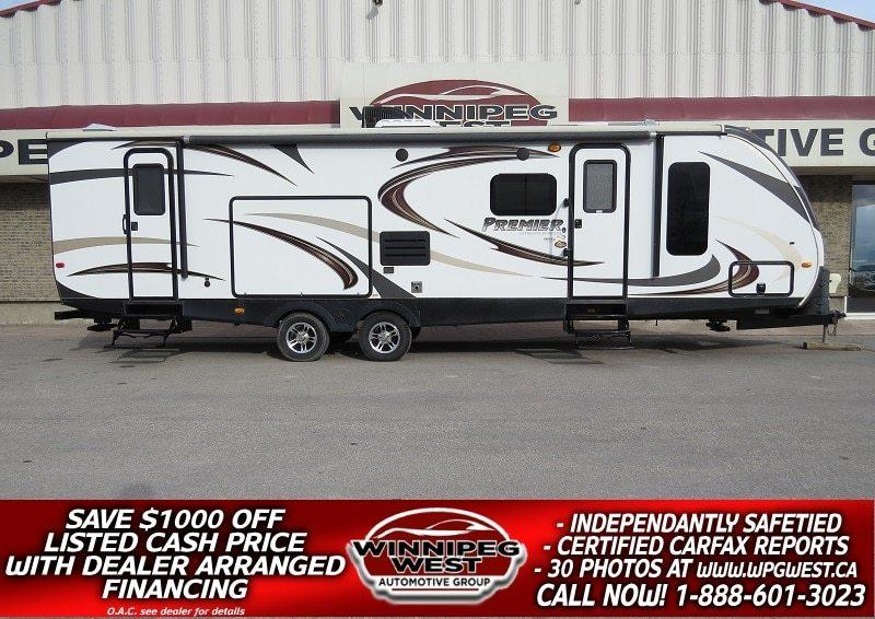 2014 Keystone RV BULLET PREMIER ULTRA LIGHT 32BHPR, BIG SLIDE BUNKS 10 SLEEPER, DUAL ENTRANCE, OUTSIDE KITCH, SPOTLESS #W4757