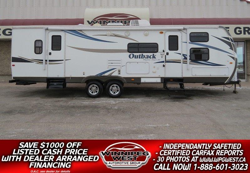2012 Keystone RV OUTBACK 301 BQ 34FT SUPER-LITE , 2 BIG SLIDES, RARE PRIVATE REAR MASTER & FRONT BUNKS, SLEEPS 10! #W4817