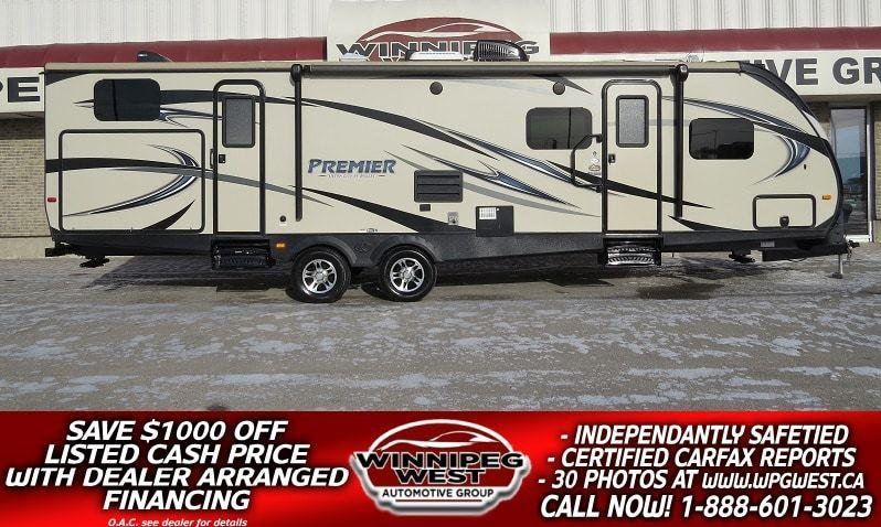 2015 Keystone RV BULLET PREMIER ULTRA LITE 31BHPR, 35FT 2 SLIDES, HIGH END, SLEEPS 10, OUTDOOR KITCH & 2 ENTRANCES! #W4825