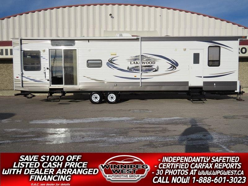 2012 Dutchmen LAKEWOOD 400RLP 42FT WIDE BODY PARK MODEL, TALL CEILINGS, DUAL ENTRANCE, HOME FURNISHINGS #W4858