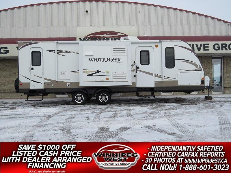 2013 Jayco WHITE HAWK 27DSRB 31' FT DUAL SLIDE, DUAL DOOR FULL SIZE BATH, SUV PULLABLE, HIGH END FINISHES! #W4873