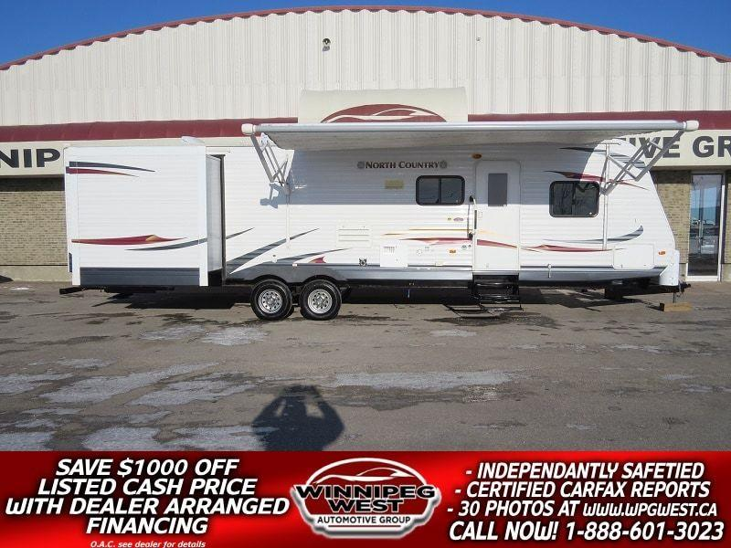 2012 Heartland NORTH COUNTRY 33BHTS 37FT TRIPLE SLIDE BUNK HOUSE SLEEPS 11, RARE LAYOUT - DUAL SUITES, NICE!! ! #W4862
