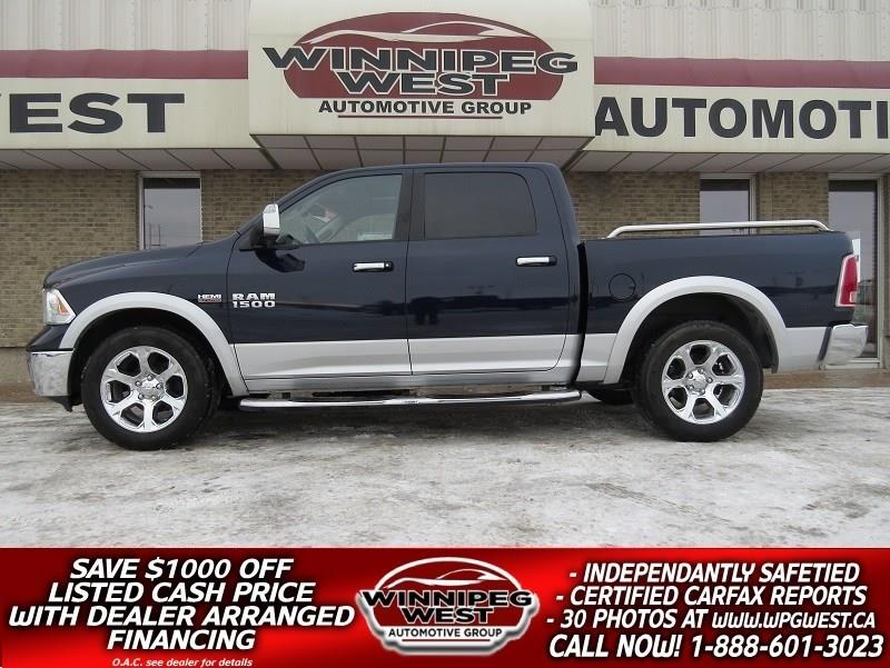 2013 Ram 1500 LARAMIE CREW 4X4, SUNROOF, LEATHER, 4 CORNER AIR S #GW3927A