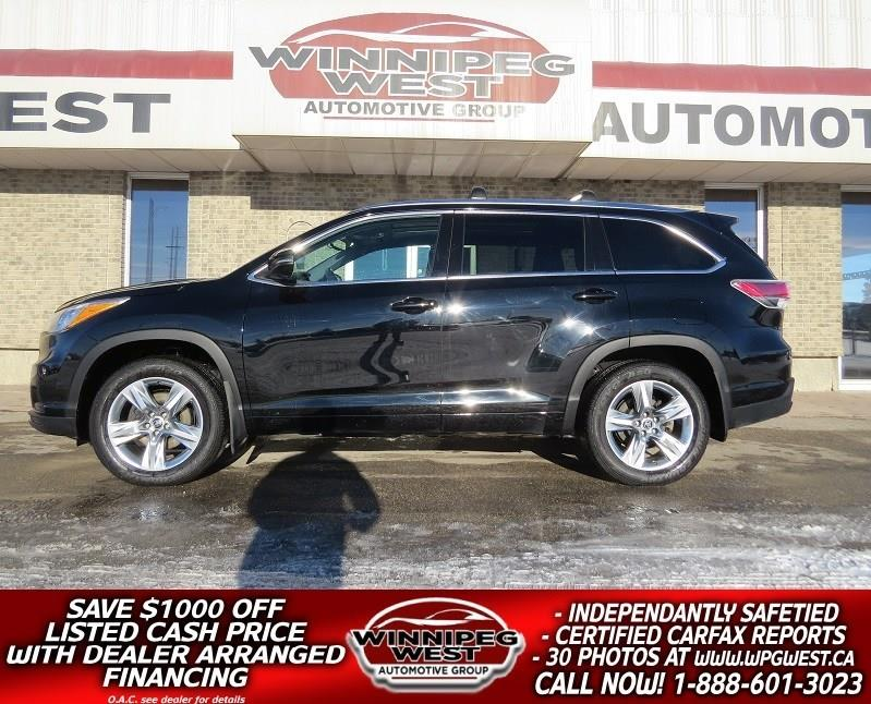 2016 Toyota Highlander LIMITED 4X4, 7 PASS, ALL OPTIONS, LOCAL, FLAWLESS #GIW4842