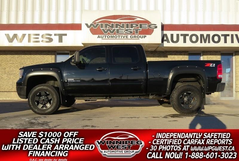 2009 GMC Sierra 2500HD BLACK LIFTED SLT DURAMAX DIESEL 4X4, LOADED, SHARP #DWL3892