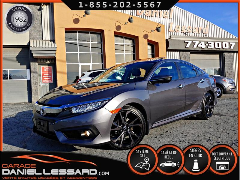 Honda Civic Berline 2016 TOURING, TURBO, CUIR, GPS, ANGLE MORT #68612