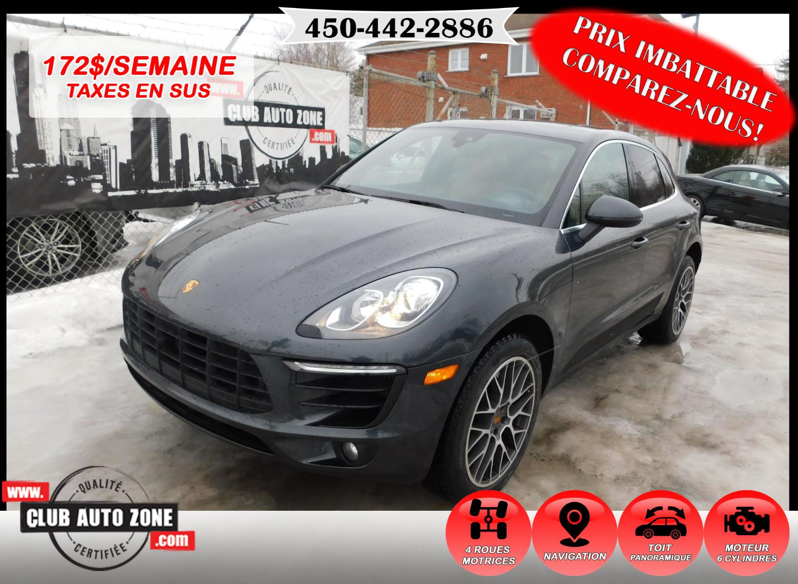 Porsche Macan 2017 S AWD TOIT PANORAMIQUE CARPLAY BLUETOOTH #HLB11135
