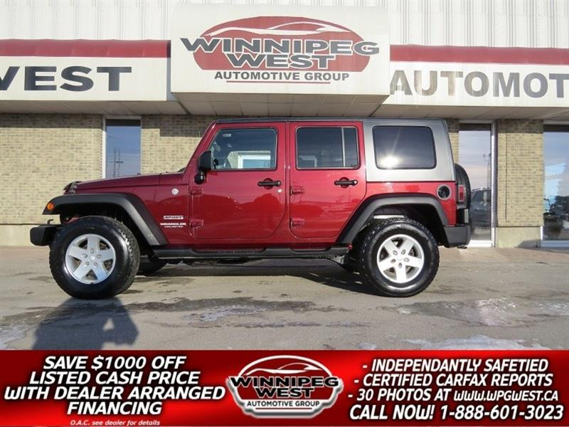 2010 Jeep Wrangler Unlimited SPORT 4X4, AUTO, AIR, GREAT HISTORY, WESTERN! #GNW4864