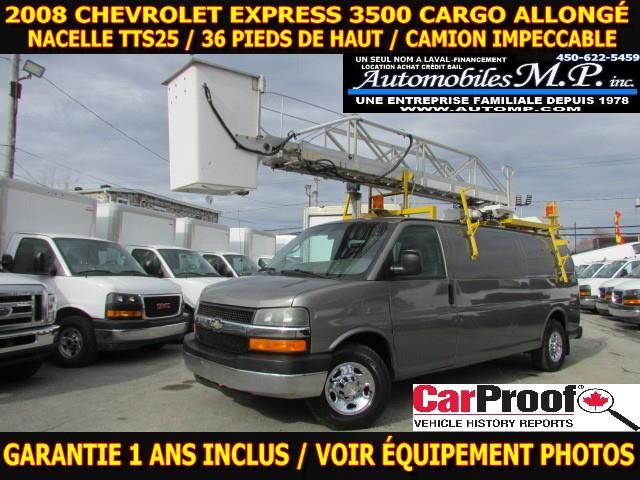 Chevrolet Express 3500 2008 CARGO ALLONGÉ NACELLE TTS25 VOIR ÉQUIPEMENT  #7281