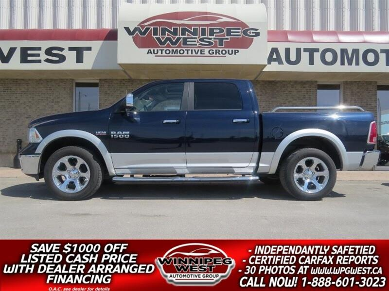 2013 Ram 1500 LARAMIE CREW 4X4, SUNROOF, LEATHER, 4 CORNER AIR S #GW3927