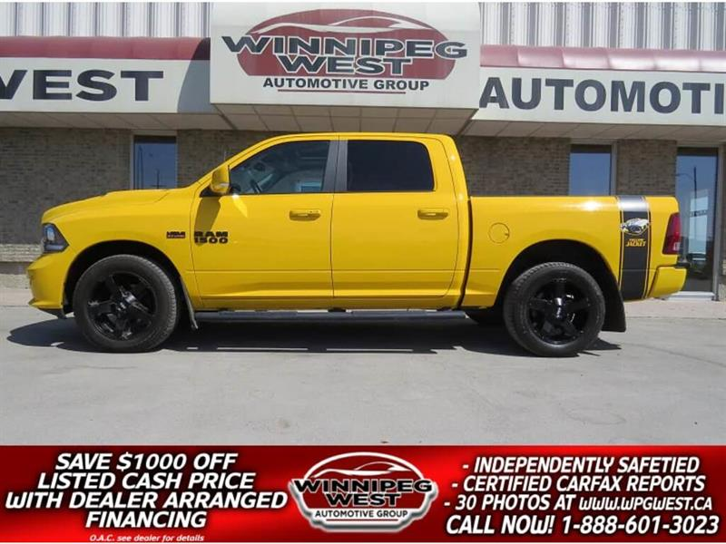 2016 Dodge Ram 1500 STINGER YELLOW SPORT CREW 4X4, RARE AND SHARP! #GW4495A