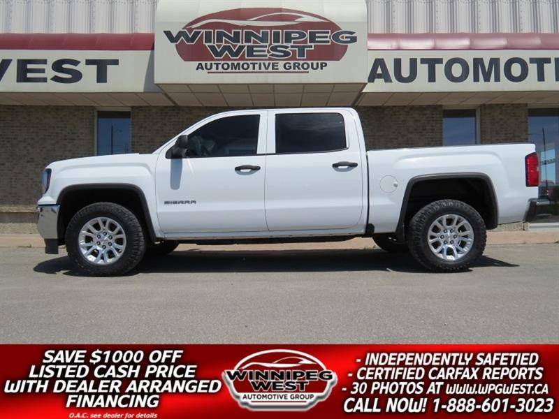 2017 GMC Sierra 1500 CREW CAB 5.3L V8 4X4, CLEAN LOW KM, GREAT OPTIONS! #GW5100