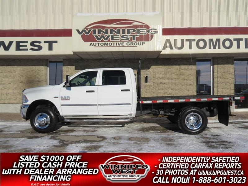 2016 Dodge Ram 3500 FLAT DECK CREW DUALLY 4X4, 6.4L HEMI, WORK READY! #GW5342A