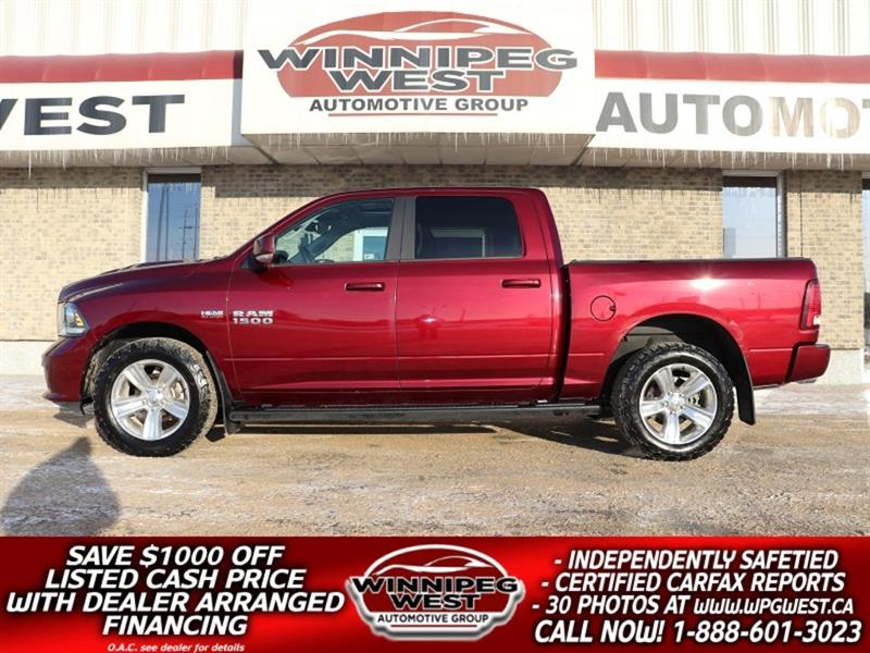 2017 Ram 1500 SPORT EDITION HEMI CREW 4X4, LEATHER, NAV, ROOF #GW5010