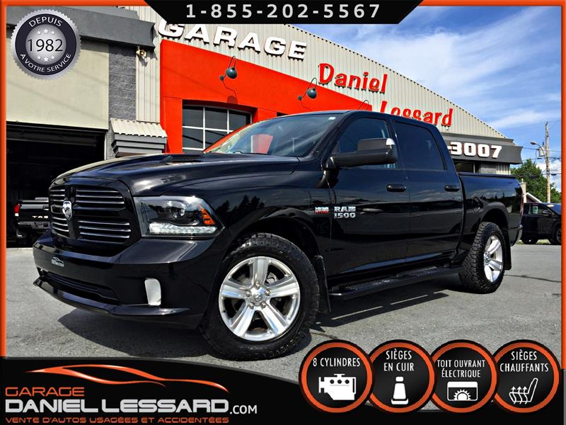 Dodge Ram 1500 2015 SPORT, CREW CAB, CUIR, GPS TOIT, 20 POUCE, A VOIR  #59502
