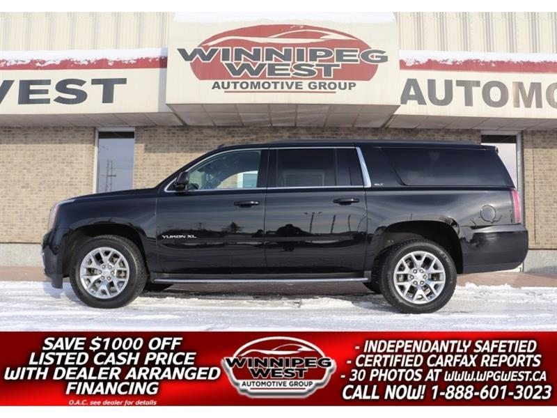 2017 GMC Yukon XL SLT 8 PASS BLACK ON BLACK, NAV, BLIND SPOT, LOADED #GNW5728