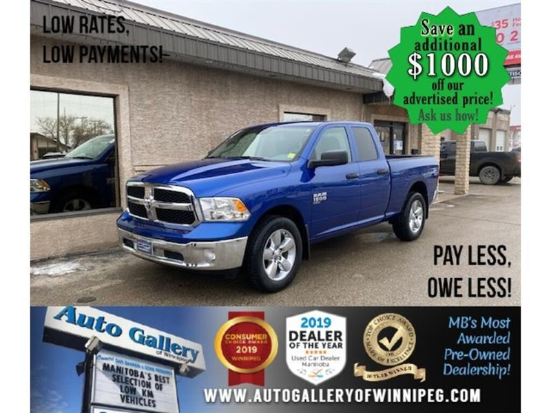 2019 Ram 1500 Classic ST* LOW KMS/4x4/V6/QUAD/Tow Package/BLUETOOTH #24730