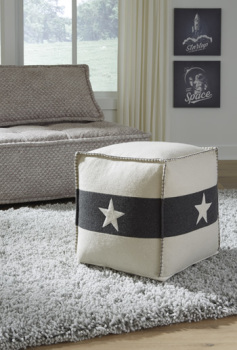 Ashley Pouf/Leonardo/White/Black