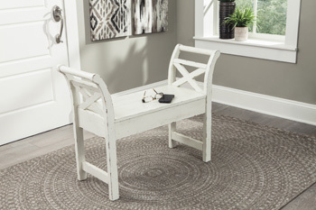 Ashley Accent Bench/Heron Ridge/White