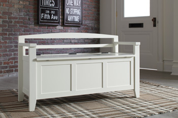 Ashley Storage Bench/Charvanna/White