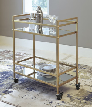 Bar Cart/Kailman/Gold Finish
