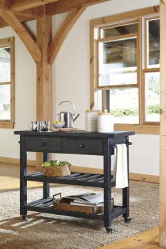 Ashley Kitchen Cart/Marlijo/Black