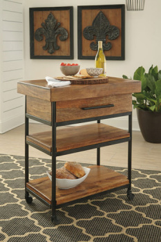 Ashley Serving Cart/Glosco/Warm Brown