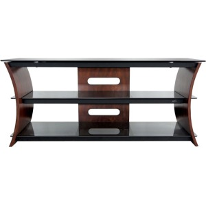 Curved Wood A/V Furniture in Rich Caramel Brown Finish