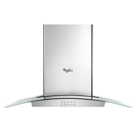 Model: WVI75UC6DS | Whirlpool 36 inch Glass Island Kitchen Hood with Glass Edge LED Lighting