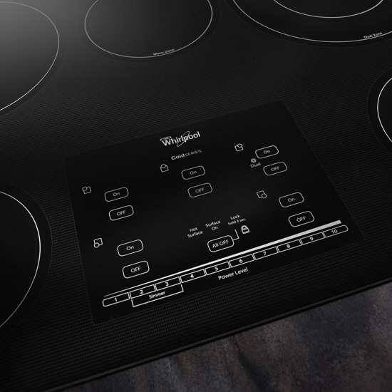 Model: G9CE3065XS | Whirlpool Gold® Series 30-inch Electric Ceramic Glass Cooktop with Tap Touch Controls