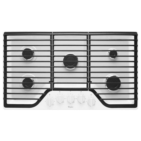 Whirlpool 36 inch 5 Burner Gas Cooktop with Fifth Burner