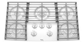 Whirlpool 36-inch Gas Cooktop with Five Burners and Tempered Glass Surface