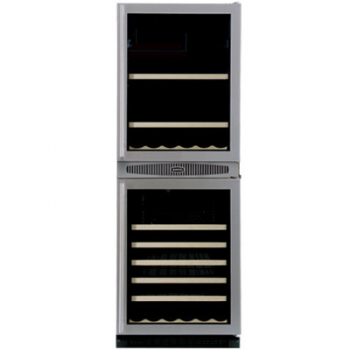 The 66BWM has ample room for 103 canned beverages (max 133 cans if double stacked on right) and 14 wine bottles in the upper compartment and 45 wine bottles in the lower. Each compartment enjoys its own cooling system and exact temperature control.