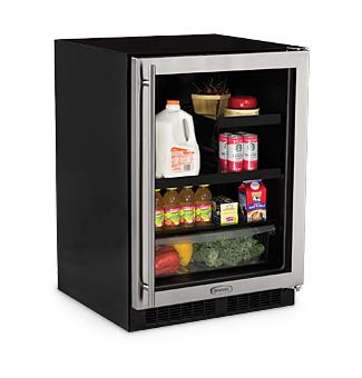 """Marvel  Marvel 24"""" Beverage Refrigerator with Drawer-Smooth Black Frame Glass Door Left Hinge"""