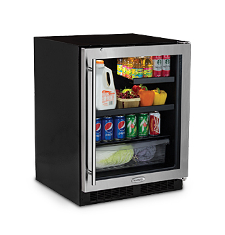 "Marvel  Marvel 24"" ADA Height Beverage Refrigerator- Stainless Frame, Glass Door With Lock Right Hinge"